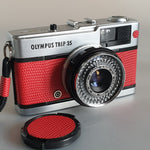 Olympus Trip 35 fully serviced, custom with real leather RED Lizard effect emboss