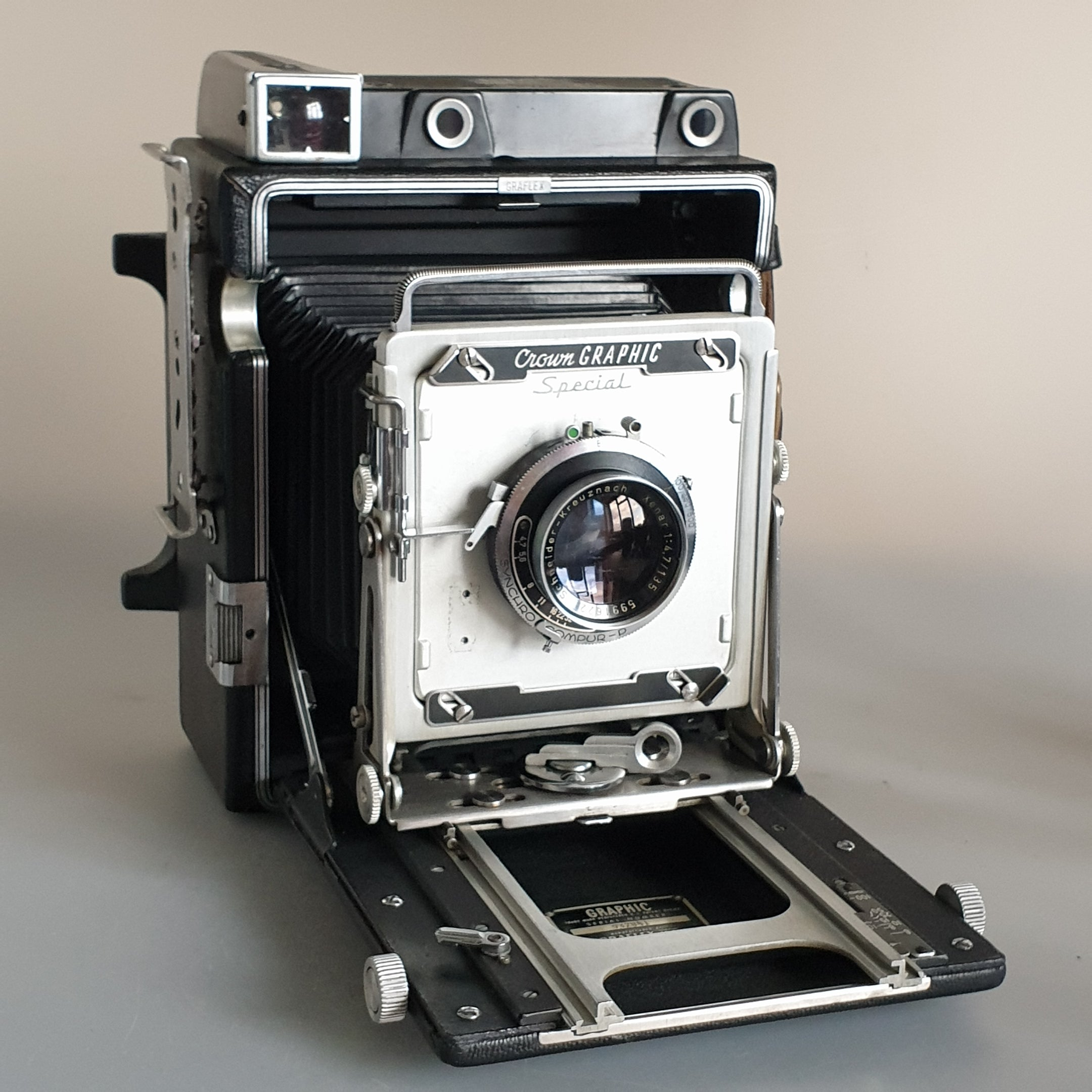 "Graflex Crown Graphic Special  4x5"" Press Camera<br> with Schneider-Kreuznach Xenar 135mm f/4.7"