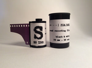 "Film Washi ""S""<br>ISO 50<br>Black and White<br>SOUND RECORDING FILM<br>35mm-36 exposures"