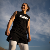 Black Muscle Tank unisex- RUGBY Logo