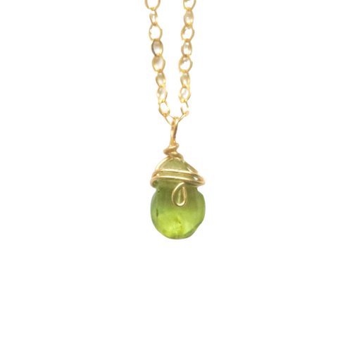 Raw Peridot 14K Gold Charm Necklace - August Birthstone - designsbynaturegems