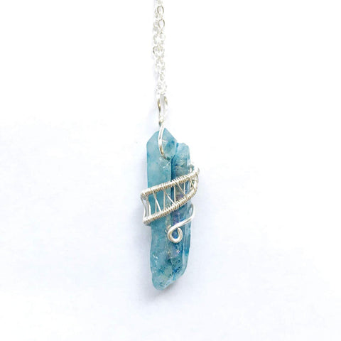 Bright Silver Wire Wrapped Aqua Aura Quartz Crystal Point Necklace - designsbynaturegems