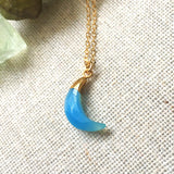 Blue Chalcedony Crystal Moon Charm Necklace - designsbynaturegems