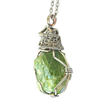 Silver Wire Wrapped Raw Peridot Necklace - August Birthstone - designsbynaturegems