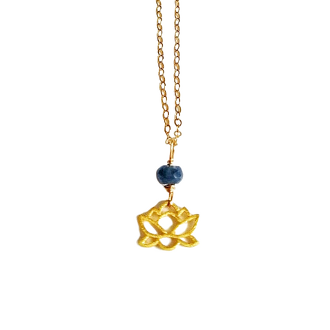 14K Gold Raw Sapphire Lotus Necklace - September Birthstone Necklace