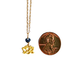 14K Gold Raw Sapphire Lotus Necklace
