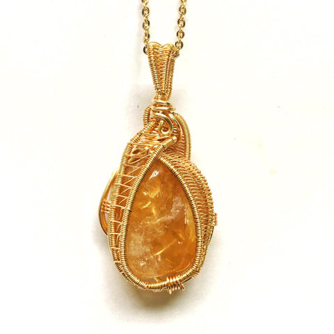 Gold Wire Wrapped Raw Citrine Necklace