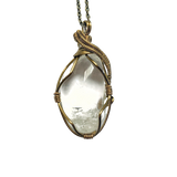 Handmade Raw Quartz Necklace - April Birthstone Pendant in Antique Bronze - designsbynaturegems