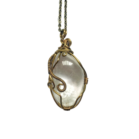 Men's Clear Quartz Crystal Necklace in Antique Bronze - designsbynaturegems
