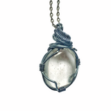 Men's Gunmetal Wire Wrapped Raw Clear Quartz Pendant Necklace - April Birthstone - designsbynaturegems