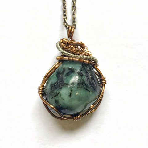 Silver and Bronze Wire Wrapped Raw Emerald Crystal Necklace - designsbynaturegems