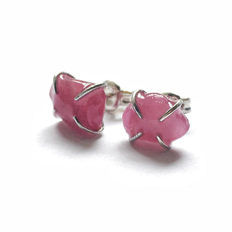 Sterling Silver Raw Ruby Stud Earrings - Pink Sapphire -  July and September Birthstone Jewelry - designsbynaturegems