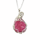 Sterling Silver Wire Wrapped Raw Ruby Necklace - Pink Sapphire Necklace - July and September Birthstone - designsbynaturegems