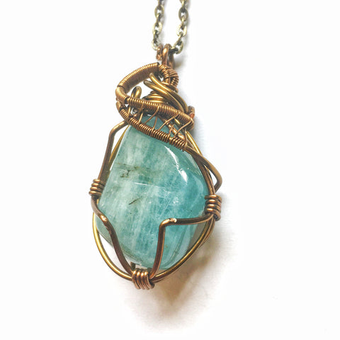 Men's Raw Aquamarine Crystal Necklace - Antique Bronze - designsbynaturegems