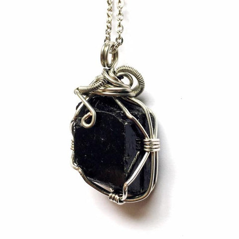 Silver Wire Wrapped Raw Black Tourmaline Necklace - October Birthstone - designsbynaturegems