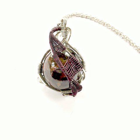 Raw Garnet Crystal Necklace - Wire Wrapped January Birthstone Pendant - designsbynaturegems