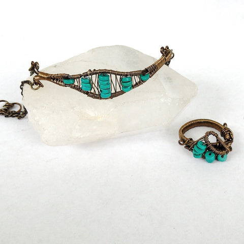 Turquoise Crystal Jewelry Set - December Birthstone Ring & Bracelet Set - designsbynaturegems