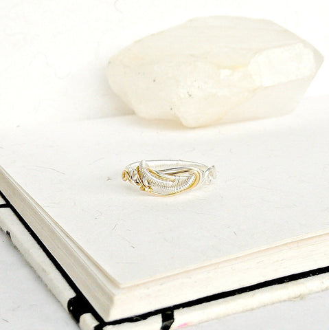14K Gold and Sterling Silver Wire Wedding Band - Vine Wedding Ring - designsbynaturegems