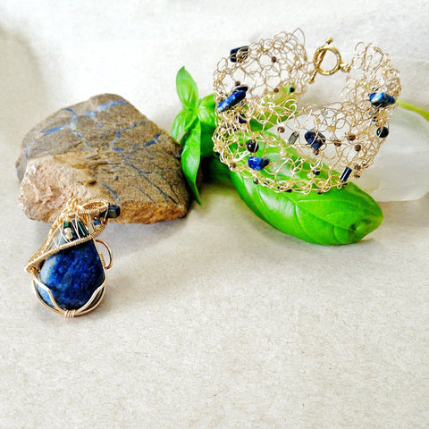 Lapis Lazuli Jewelry Set - Wire Wrapped Necklace and Bracelet - designsbynaturegems