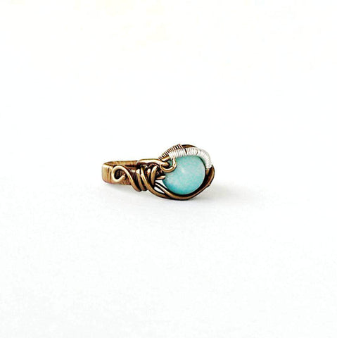 Blue Amazonite Healing Crystal Statement Ring in Antique Bronze - designsbynaturegems