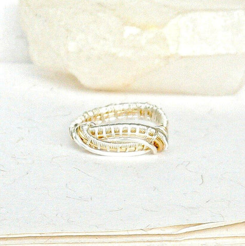 Men's Wedding Band - Silver and Gold Wedding Ring - designsbynaturegems