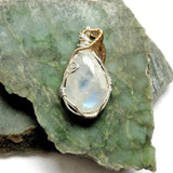 Sterling Silver Large Rainbow Moonstone Necklace - June Birthstone Jewelry - designsbynaturegems