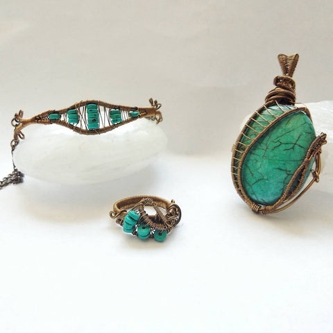 Turquoise Crystal Jewelry Set - December Birthstone Ring, Bracelet and Ring Set - designsbynaturegems