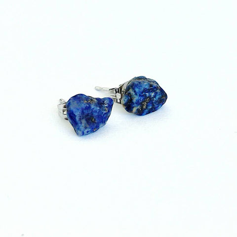 Raw Lapis Lazuli Crystal Earrings  Earrings - designsbynaturegems