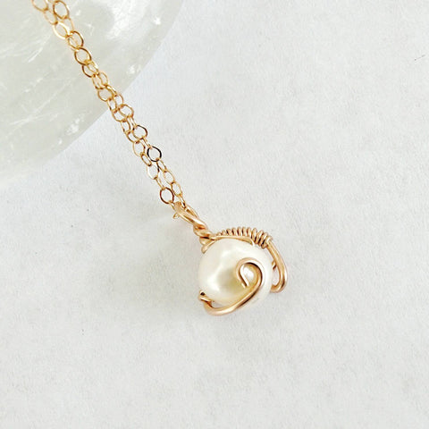 14K Gold and Rose Gold Pearl Necklace - Crystal Choker - designsbynaturegems