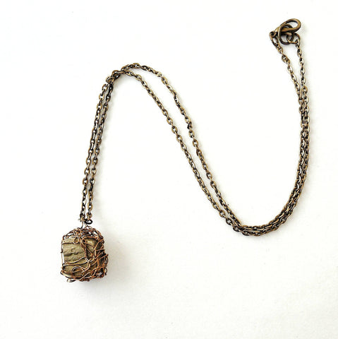 Wire Wrapped Raw Pyrite Crystal Necklace - designsbynaturegems