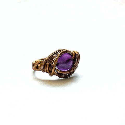 Wire Wrapped Amethyst Ring - February Birthstone - designsbynaturegems
