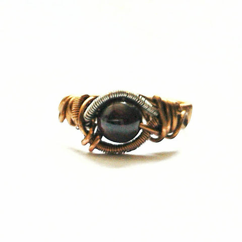 Mens Garnet Crystal Ring Wire Wrapped in Antique Bronze - designsbynaturegems