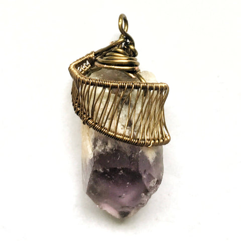 Raw Amethyst Crystal Point Necklace in Antique Bronze | February Birthstone - designsbynaturegems