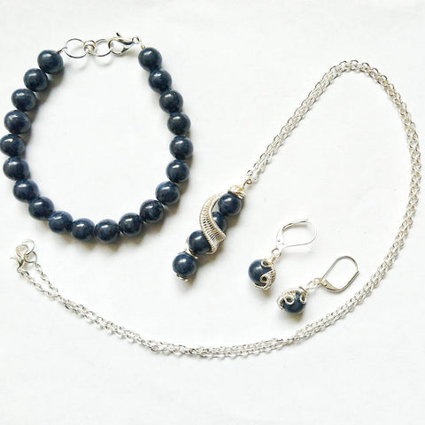 Sapphire Jewelry Set- September Birthstone Jewelry - designsbynaturegems