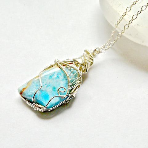 Raw Larimar Crystal Pendant - in Sterling Silver - designsbynaturegems
