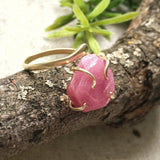 Raw Pink Ruby Crystal Gold Ring - Pink Sapphire Ring - Adjustable July and September Birthstone Ring - designsbynaturegems
