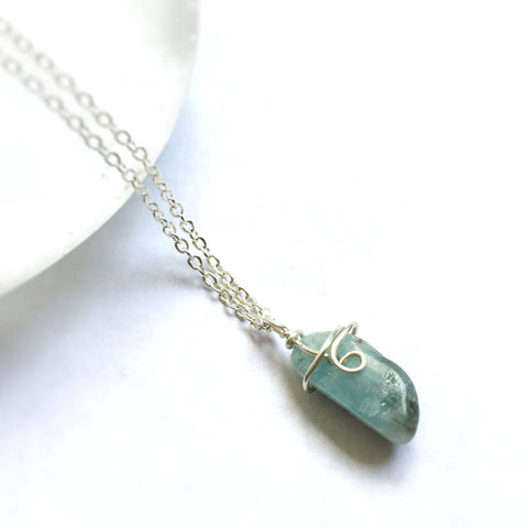 Raw Aquamarine Sterling Silver Charm Necklace - March Birthstone - designsbynaturegems