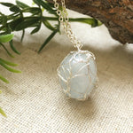 Aquamarine Crystal Charm Necklace in Bright Silver - designsbynaturegems