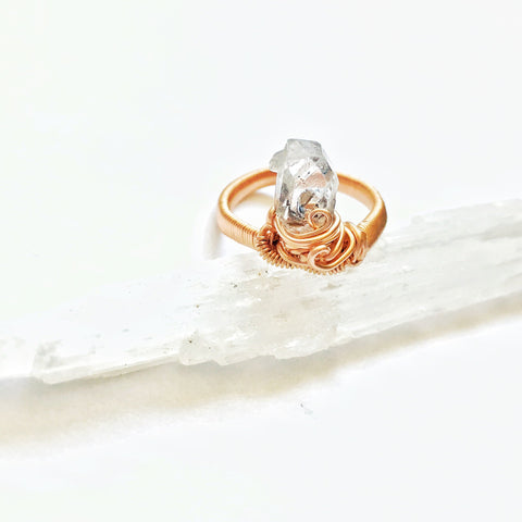 14K Rose Gold Raw Herkimer Diamond Ring - designsbynaturegems