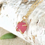 Raw Ruby 14K Gold Charm Necklace - Pink Sapphire - July Birthstone Necklace - designsbynaturegems