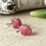 Sterling Silver Ruby Crystal Earrings - Pink Sapphire Earrings - July and September Birthstone - designsbynaturegems