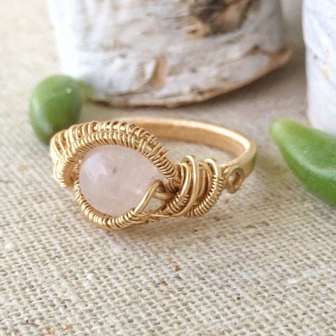 14K Gold Rose Quartz Engagement Ring - designsbynaturegems