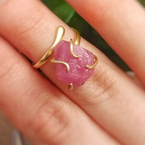 Raw Pink Ruby Crystal Ring - Adjustable 14K Gold Pink Sapphire Ring - designsbynaturegems