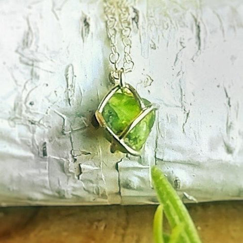 Raw Green Peridot Crystal Bridesmaid Sterling Silver Necklace - designsbynaturegems