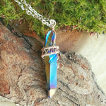 Silver Wire Wrapped Flame Rainbow Aura Quartz Crystal Point Necklace - designsbynaturegems