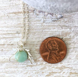Amazonite Crystal Unicorn Charm Necklace - Italian Sterling Silver - designsbynaturegems