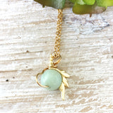 Blue Amazonite Crystal Unicorn Charm Necklace - 14K Gold - designsbynaturegems