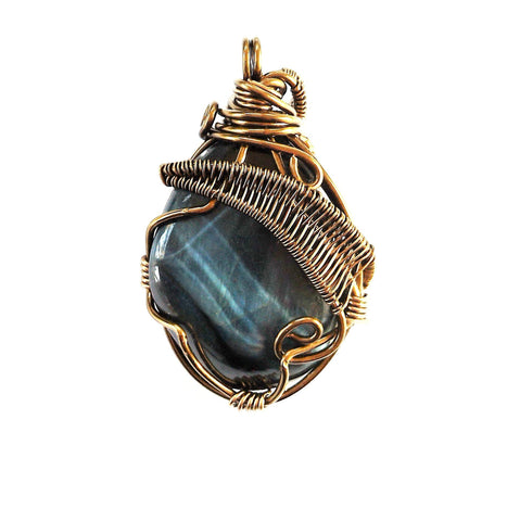 Raw Blue Tigers Eye Pendant Necklace - designsbynaturegems