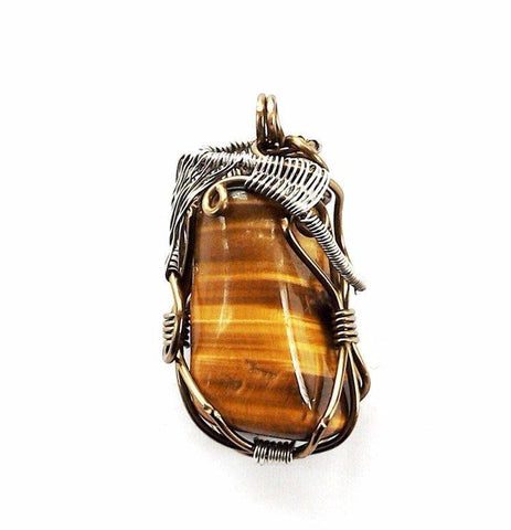 Silver & Antique Bronze Wire Wrapped Tiger's Eye Necklace - designsbynaturegems