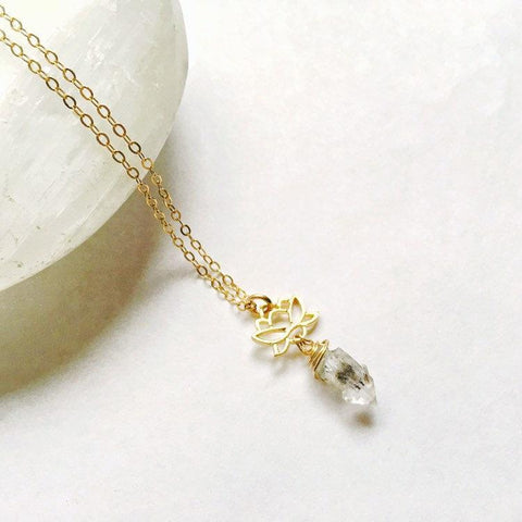 14K Gold Herkimer Diamond Charm Necklace - designsbynaturegems
